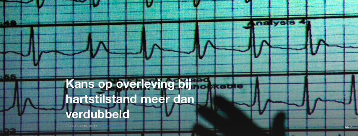 NOS: Kans op overleving bij hartstilstand meer dan verdubbeld